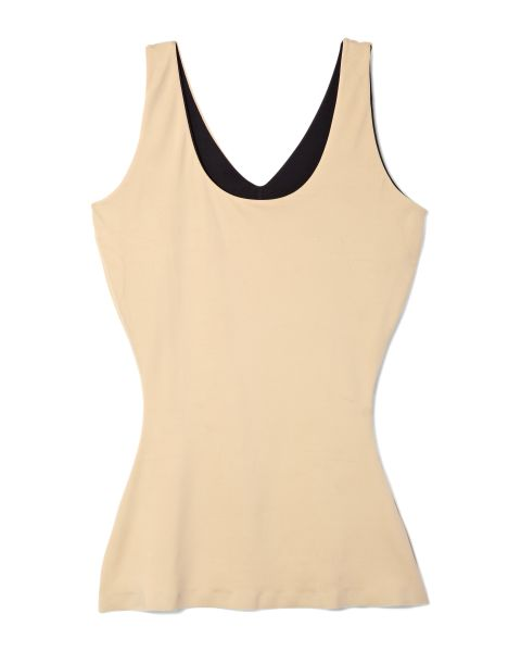 This acts as a layering piece, much like a camisole, and is good for tummy smoothing. They come in varying degrees of elasticity, depending on how much flattening you need (and how much pressure you can handle).<br /> Assets Red Hot Label by Spanx 4-Way Tank, $44; QVC.com<br />