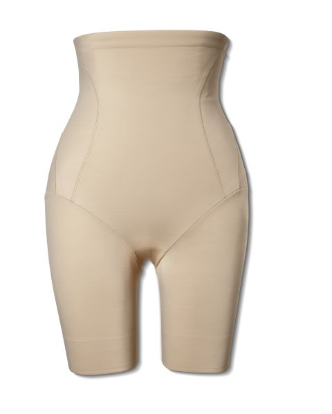 "For help with ""saddlebags"" or thigh bumps, try one under pencil skirts, fitted dresses or pants in clingy fabrics like silk or crepe. Make sure it has enough grip at the bottom so it stays in place and doesn't roll up your leg. Also, make sure it isn't too small, otherwise it will cut into your leg, leaving you with double-bubble thighs.<br /> Naomi & Nicole Inside Magic Extra Firm High-Waist Thigh Slimmer, $42; Kohls.com<br />"
