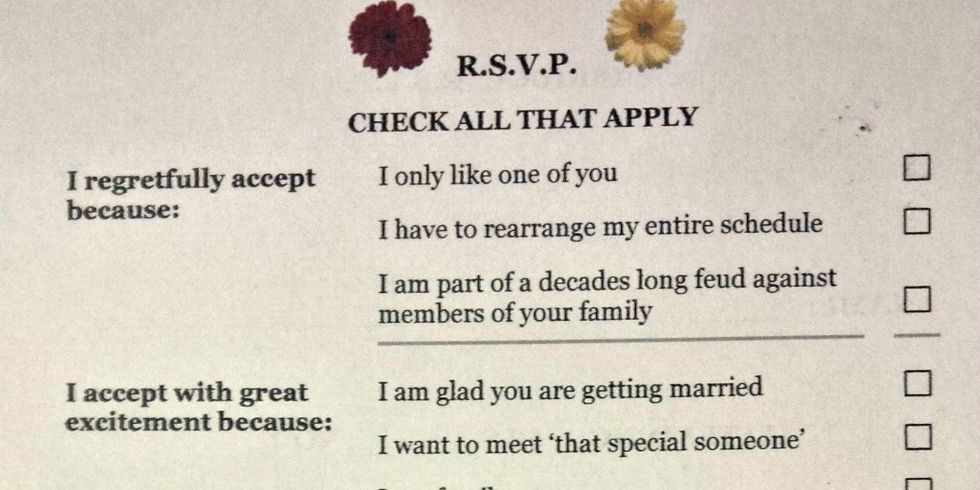 This Wedding Response Card Is The Funniest Thing You Ll