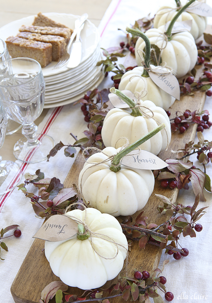 White Pumpkin Centerpiece : Fall and thanksgiving centerpieces diy ideas for