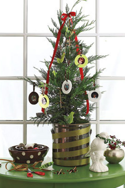 A humble tag-sale table painted leafy green becomes a nifty staging area. Wrap a crock with ribbon to fashion a stand for an adorable tree personalized with family photos. Concoct miniature frames using circles of stiff felt and ribbon.