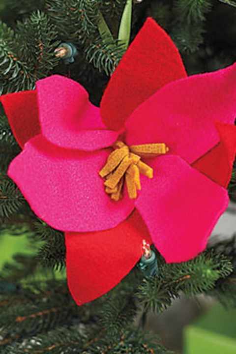 Use two shades of vibrant felt to concoct a whimsical ornament.