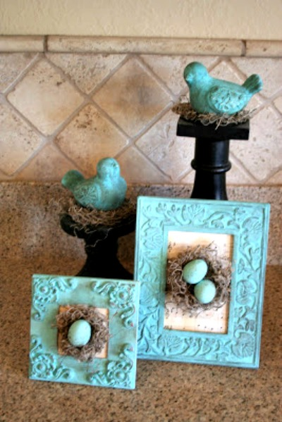 For $5, blogger Jennie got floral moss, Easter eggs and frames. She then went into crafting mode creating these beautiful pieces. Their vibrant color instantly brightens any room they're in. Get the tutorial at Cinnaberry Suite.
