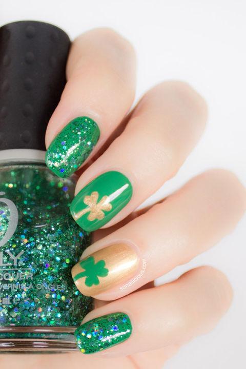 St patricks day nails green nail art ideas green and gold prinsesfo Images