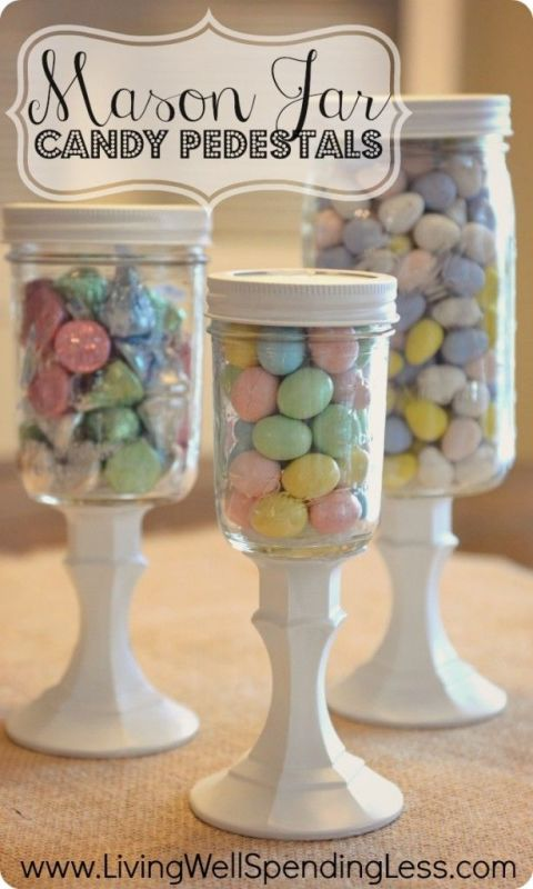 This Easter, give candy the importance it deserves and put it on a pedestal. Blogger Ruth did just that with these decor staples that could work for any holiday. Just swap out the candy! Get the tutorial at Living Well Spending Less.