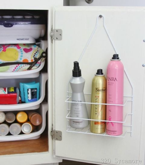 Who says these caddies are only good for the shower? Stash your most-frequently-used sprays on one inside of your cabinet door so you can keep 'em off your counter but nearby during your rushed mornings. See more at 320 Sycamore »