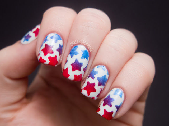Memorial day nails 4th of july nails stenciled star nails prinsesfo Image collections