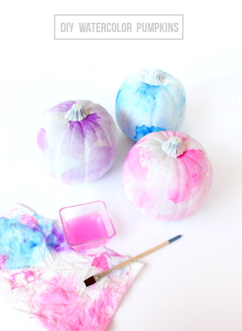 These funky pumpkins allow tons of freedom when creating. Choose your own complementary shades of paint and play around with the watercolor patterns to make it your own. Get the tutorial at Lines Across.