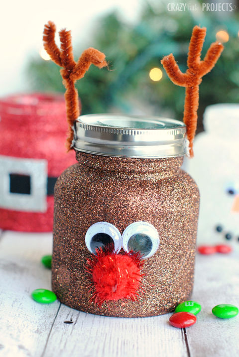 These cute jars will do all the talking. Start by coating Mason jars in glitter and then transform them into reindeers, snowmen and Santas. Get the tutorial at Crazy Little Projects.