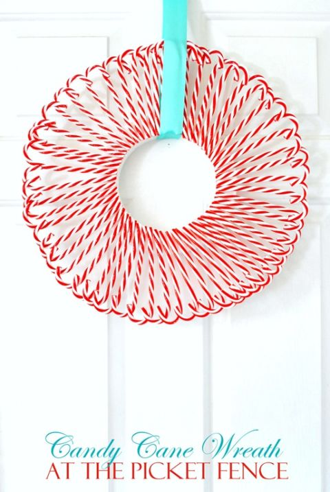 With a load of acrylic candy canes, make this mouth-watering wreath to hang on your door. Santa will know just how to find you! Get the tutorial at At the Picket Fence.