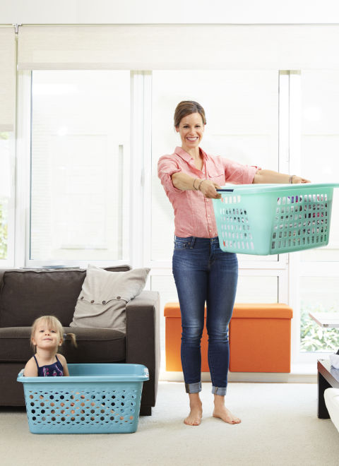 HOW TO: Make 5 trips up and down a set of stairs for each load of laundry you put away. At the bottom of each trip, lift the laundry basket up to shoulder height 5 times.