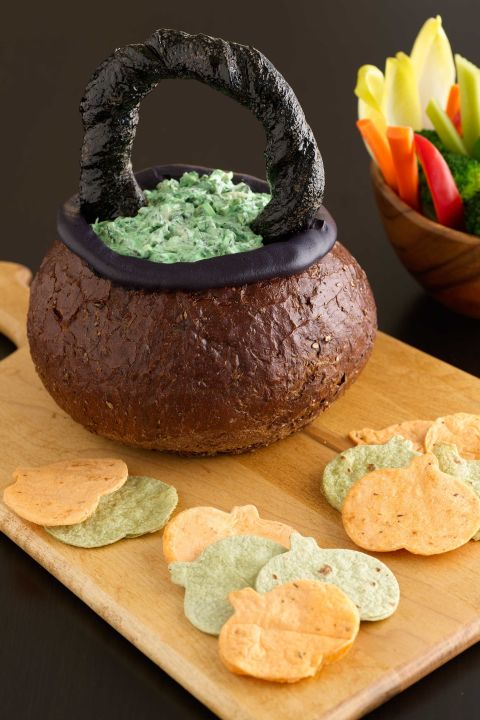 Spooky Spinach Dip In Bread Bowl Cauldron