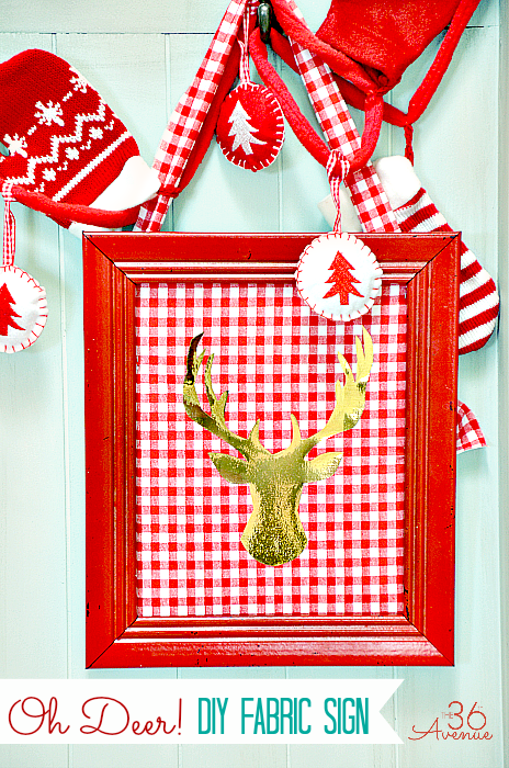 Make use of plaid fabric by framing it as a background for a metallic reindeer or any other holiday icon.