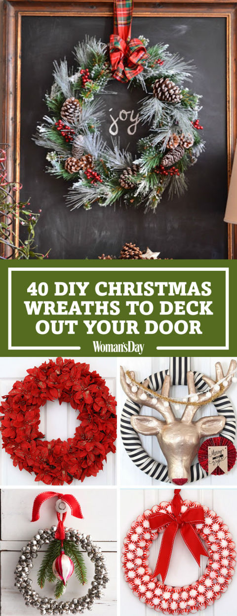Save These Ideas & 40+ DIY Christmas Wreath Ideas - How To Make a Homemade Holiday ... pezcame.com