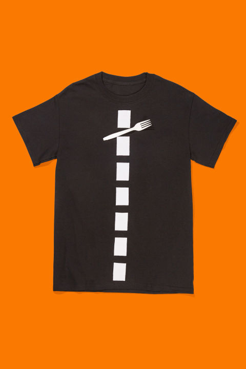 Dress yourself in all black and attach rectangular strips of white felt down the center of your body to emulate a dividing lane line. Tape a plastic fork over the dotted line and you've got a metaphor!