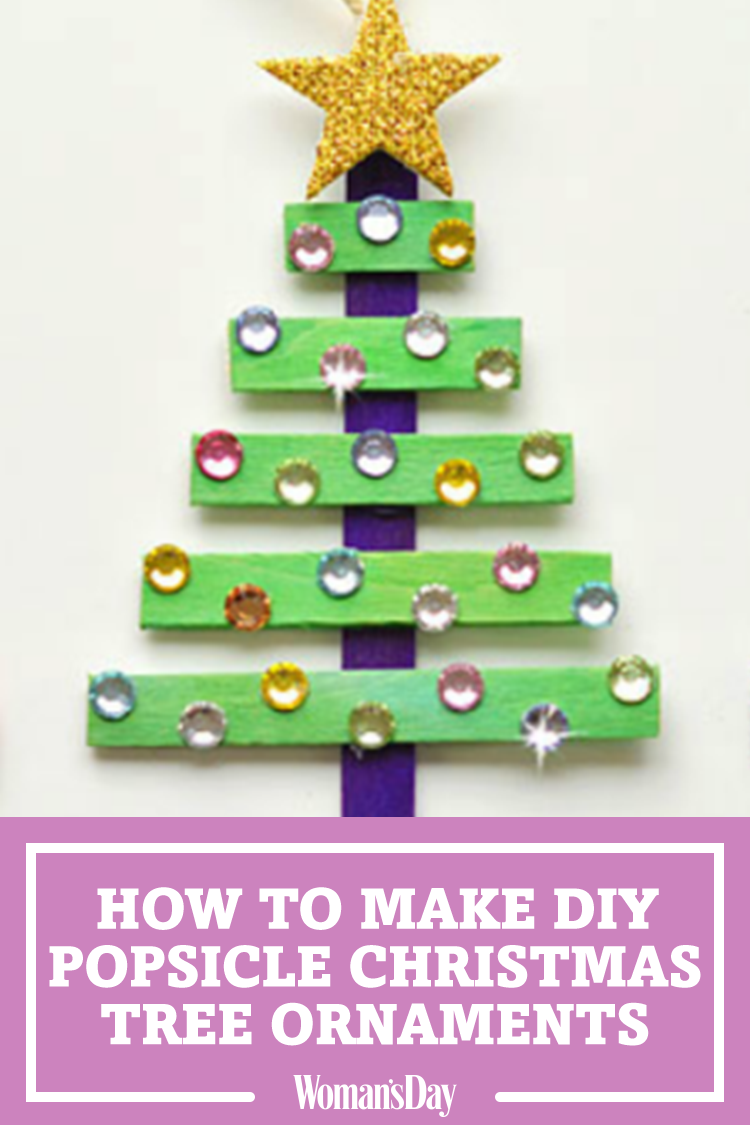 turn popsicle sticks into glittery christmas tree ornaments - Glitter Christmas Tree