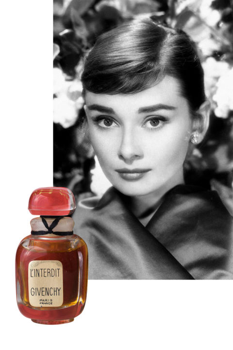 "Created specially for Audrey Hepburn by Hubert de Givenchy, L'Interdit—which means ""forbidden"" in French—was created in 1957. Rumors spread that Audrey didn't want Givenchy to release the scent, but it was ultimately made available for wide purchase in the 1960s. A floral aldehyde, L'Interdit's notes include bergamot, rose, jasmine, iris, violet, narcissus, and sandalwood. In later years, Audrey wore Creed Spring Flower, another scent created just for her."