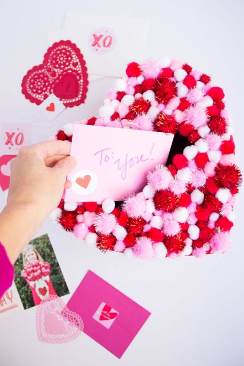 diy pom pom valentines box - Valentine Day Crafts For Kids