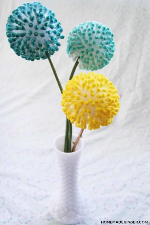Believe it or not, Q-Tips are a fun and affordable way to create pretty displays like these spring flowers.  Get the tutorial at Homemade Ginger.