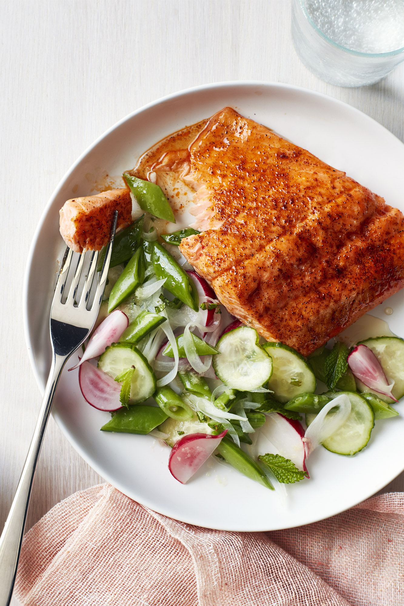 Best Roasted Blackened Salmon With Snap Pea Salad Recipe