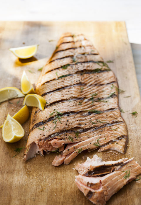 Fatty fish (salmon, halibut, tuna) and shellfish (mussels, shrimp) are great sources of omega 3 fatty acids. Plus, they're a great source of lean protein. Grill them up and go to town. 30 fish and seafood recipes to try tonight »