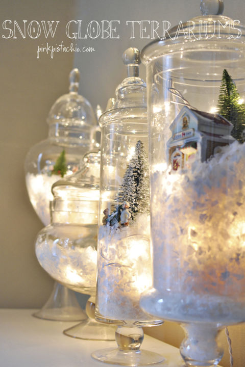 In 10 minutes, create beautiful jars evoking picture-perfect holiday scenes, filled with snow and twinkling lights.