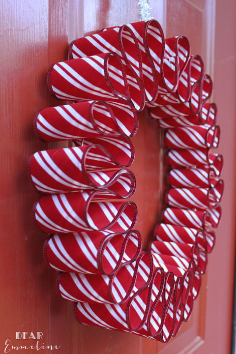 Medium gauge wire, striped ribbon and a hot glue gun are the keys to this festive door ornament. 