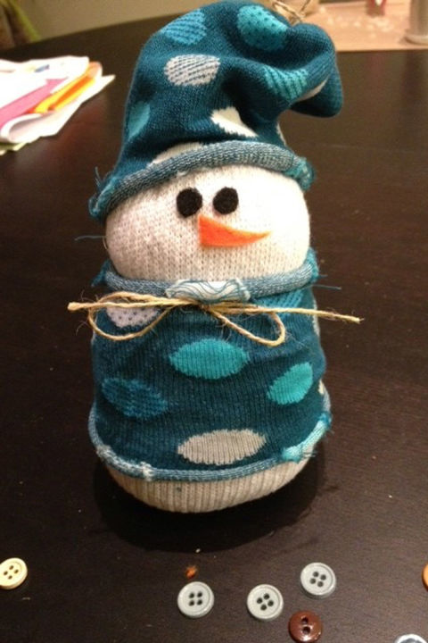 Rice, socks and rubber bands are the keys to creating this adorable winter friend. Get the tutorial at Ciao Mama.