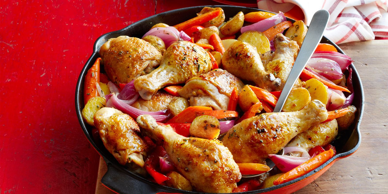 Skillet Roasted Chicken Potatoes And Peppers Recipe