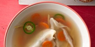 Gingery Chicken and Pot Sticker Soup