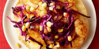 Zesty Shrimp Tostadas with Cabbage and Corn Slaw