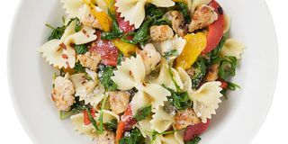 Farfalle with Pesto, Goat Cheese and Grape Tomatoes