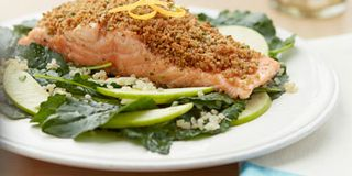 Crunchy Salmon with Apple and Baby Kale Salad