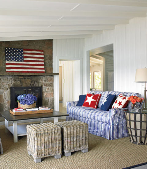 American home decor red white and blue rooms for Red and blue living room decor