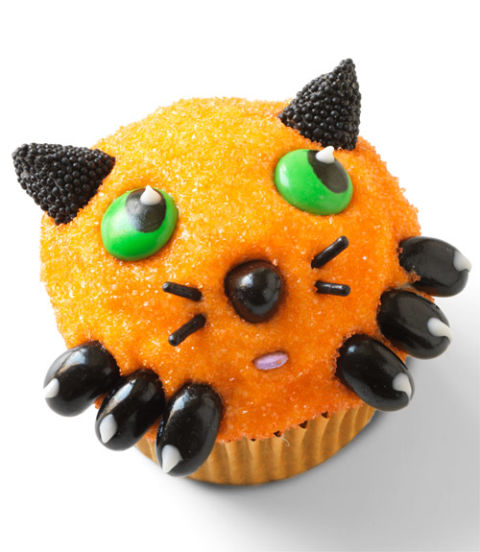 Cat cupcakes orange and black cat cupcake recipe for How to make halloween cupcakes from scratch