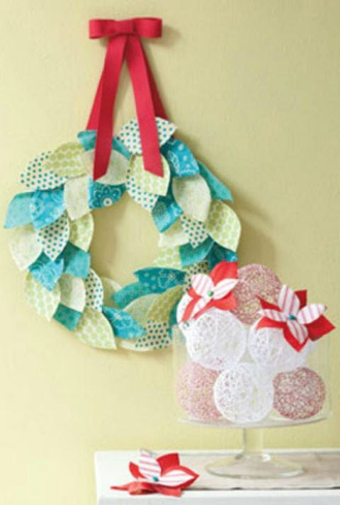 These whimsical decorations instantly add holiday cheer to your home. Hang the colorful wreath on a wall, and bring a side table to life by placing a bowl of these snowballs atop it.