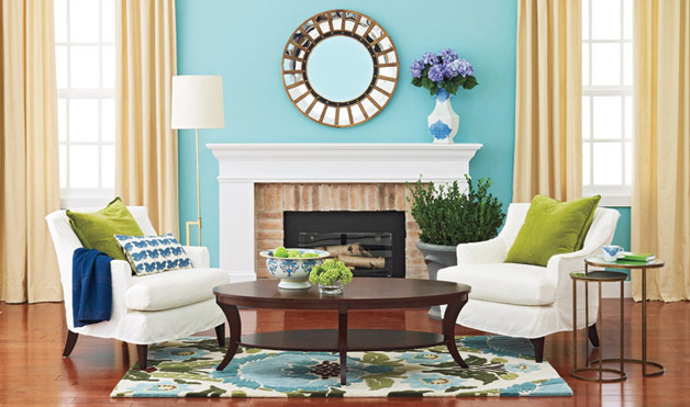 High Quality A Cool, Crisp Aqua Paired With Bottleglass Greens Gives A Beachy Boost To A  Traditional Room. It Updates A Space With What Color Consultant Ann McGuire  ...