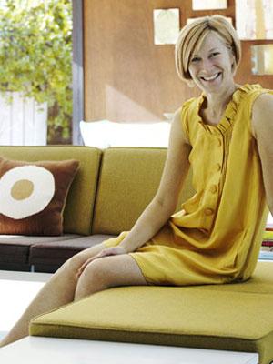 woman enjoying hotel decor