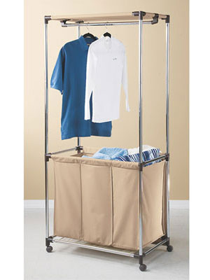 Save precious minutes on laundry day with this contraption, which features separate compartments for pre-sorting whites, darks and colors, as well as a hanging rack for just-ironed garments. $49.99 at lnt.com