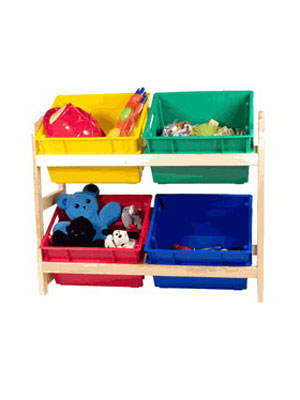 Help kids learn the ins and outs of organizing (and add a splash of color to their rooms) with this four-bin storage rack. The different colored plastic bins allow you to sort and store toys by category, making them easier to find. $34.99 at organize.com