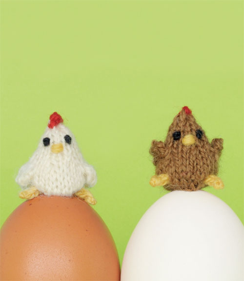 knitted mini chickens