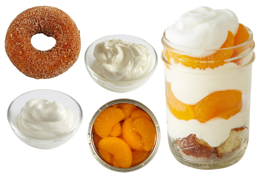 A breakfast staple makes a special appearance in this delectable dessert. Cinnamon sugar donuts + Cheesecake batter + Whipped cream + Mandarin orange segments