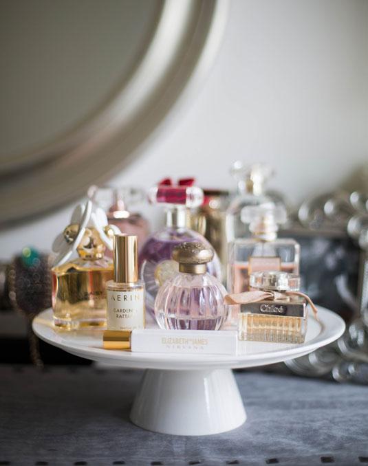 cake stand, perfume on cake stand, perfume, pretty perfume bottles
