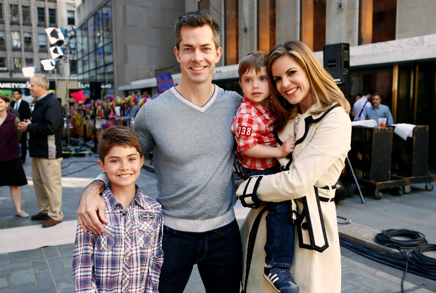 Joe Rhodes with wife Natalie Morales and his children.