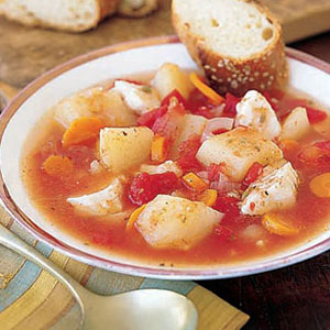 Fish stew with potatoes and carrots for French fish stew