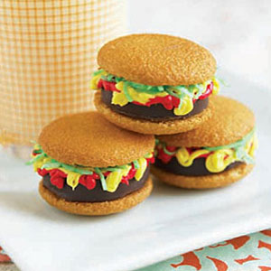 Mini Burger Cookie Recipe at WomansDay.com- Holiday Cookie Recipes