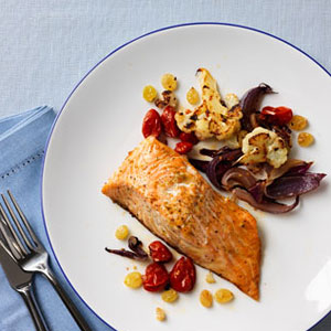 Roasted Salmon, Tomatoes and Cauliflower Recipe – Fish Recipes at ...