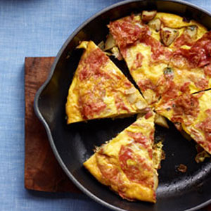 Spanish-Style Tortilla with Salami and Potatoes