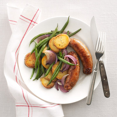 sausages with skillet potatoes and green beans recipe. Black Bedroom Furniture Sets. Home Design Ideas