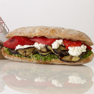 Grilled Eggplant And Roasted Red Pepper Sandwich With ...